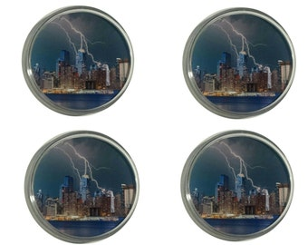 New York City Skyline with Lightning Striking Skyscrapers Set of 4 Round Acrylic Coasters/ Manhattan