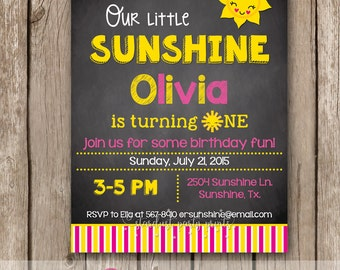 Sunshine Invitation, Sunshine Birthday Invitation, Digital File, You are my sunshine birthday invitation