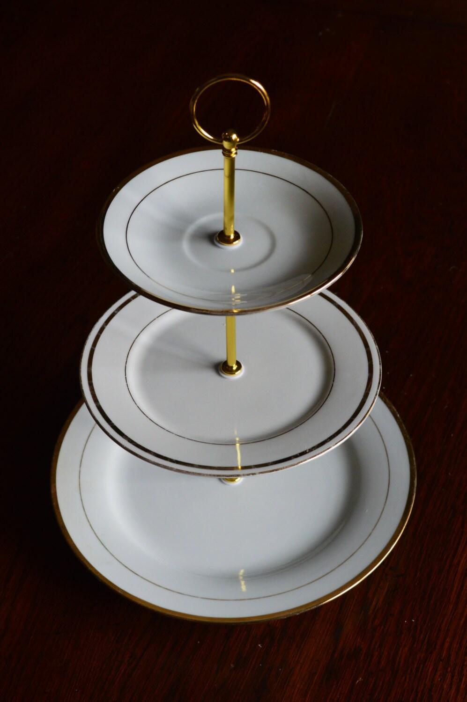 three tiered dessert stand gold trim 3 tier cupcake stand. Black Bedroom Furniture Sets. Home Design Ideas