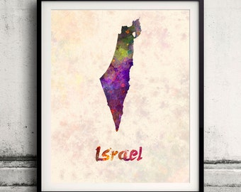 Israel - Map in watercolor - Fine Art Print Glicee Poster Decor Home Gift Illustration Wall Art Countries Colorful - SKU 1799