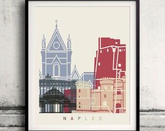 Naples skyline poster - Fine Art Print Landmarks skyline Poster Gift Illustration Artistic Colorful Landmarks - SKU 1864