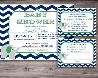Elephant Baby Shower DIY Invitation Kit - Navy, Green, Gray Theme - Invitations, Diaper Raffle Ticket, Bring a Book Insert