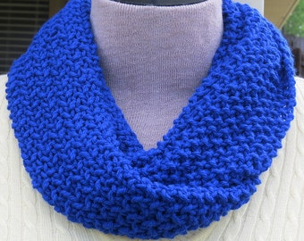 Blue infinity scarf, Crochet scarf, Blue crochet scarf, knitted scarf, Cowl scarf, Valentine's gift