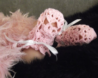 Crochet Booties,Girls,Newborn,PinkBooties, Cotton,Victorian Booties,Lace Booties,Shoes,Girl's Shoes, Crib shoes