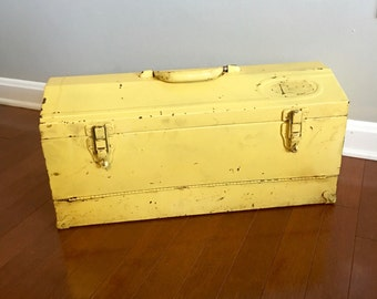Vintage Tool Box - Yellow Metal Tool Box - Tool Chest - Rustic Decor - Industrial Decor - Vintage Toolbox