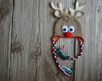 Crochet REINDEER HAT- NEWBORN reindeer hat - Baby reindeer hat - White reindeer hat