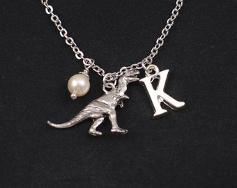 dinosaur necklace, sterling silver filled, initial necklace, Swarovski pearl choice, silver dinosaur charm, birthday present, paleontology
