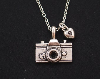 initial necklace, camera necklace, silver camera charm, wedding photographer, photography necklace, vacation, camera pendant on silver chain