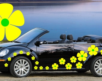 32,yellow & green pansy flowers car decals,stickers in three sizes