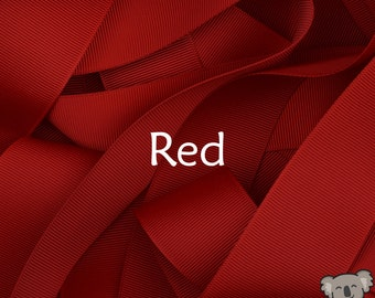 Red Grosgrain Ribbon 3 Metre Cut, FREE Shipping, 64 Colours in 7 Widths Available
