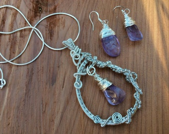 handmade wire weaved wire wrapped amethyst necklace set
