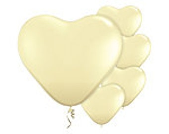 Balloons| Ivory Heart Balloons | Wedding Balloons | Ivory Balloons | Heart Balloons | Party Balloons | 6 Inch Balloons