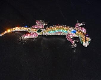 Vintage Large Articulated 37 grams  Rhinestone Lizard Brooch.
