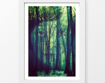 """I am made of wood / Trees forest face blue photo printable art wall art home decor downloadable art to print yourself / A3 and 11"""" x 17"""""""