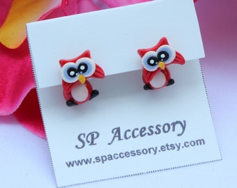 Owl clay earrings, red owl clay earring, pink owl clay earrings, dangle earring, clay earrings, owl stud