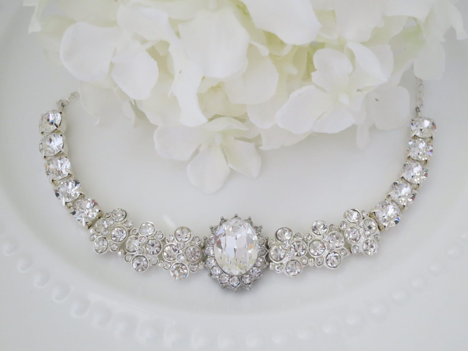 Statement bridal necklace, Glamorous rhinestone necklace, Crystal wedding necklace