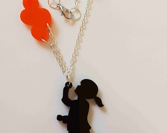 Girl with Balloons Necklace - Acrylic