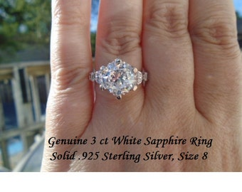 Genuine 3 ct White Sapphire Engagment Ring