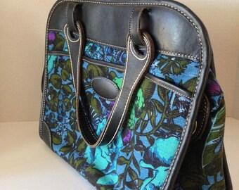 vintage 60s tapestry shoulder bag with a beautiful floral design