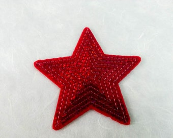Red Star Sequin Iron on Patch (L) - Sequin Star,Glitter Applique Iron on Patch - Size 9.1x8.8 cm