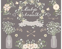 Premium Vector Rustic baby's breath wedding clipart, jar clipart, Hand Drawn clipart,wedding clipart, flower clipart