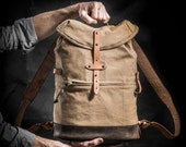 Canvas and leather backpack by Kruk Garage Mens backpack Made British army parachute bag 70's Daily pack Weekender backpack Travel backpack