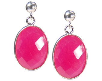 Gemstone earrings. Chalcedony silver-pink