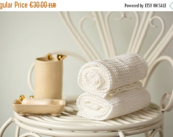 SALE 15% OFF Natural white linen towels - Softened linen bath towels - Set of two towels