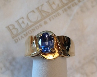 Vintage 14k yellow gold wide shanked ring oval blue Ceylan Sapphire, 1.57 ct, size 8