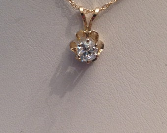 Vintage 14k yellow gold Old European Cut Diamond Solitaire Pendant in Tall Buttercup Flower Setting .48 ct H-I1