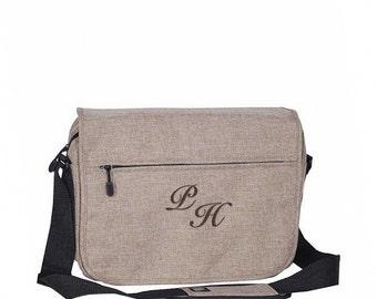 Trendy Element Laptop Bag With Monogram - Tan