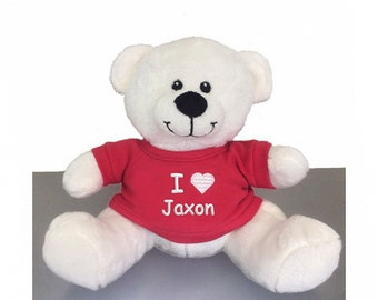 Personalized Valentine's Snuggle Teddy Bear with Red T-Shirt, 8 inch