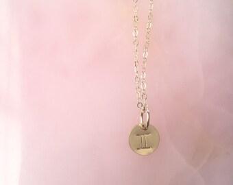 Gemini zodiac symbol gold filled necklace