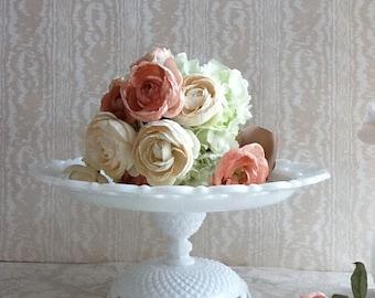 """13"""" Vintage Milk Glass Cake Stand/ Dessert Stand/ Wedding Cake Stand/ Dessert Pedestal/"""