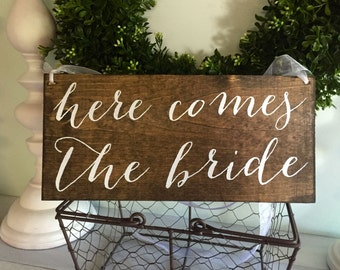 Here comes the Bride, flower girl sign, ring bearer sign,rustic wedding signage, rustic sign, rustic wooden sign, custom wood sign, custom