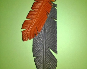 Leather feathers Pendant