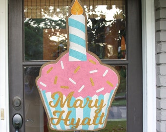 Birthday Cupcake Burlap Door Hanger