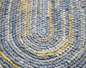 "On Sale! Handmade Oval Rag Rug 36"" x 46"" Blues, White, Yellow- Prints and Solids"