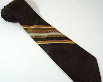 Vintage Tie Count Christopher Brown Orange 1970s Necktie
