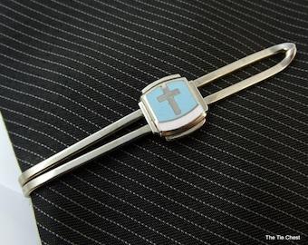 "Vintage 1930s 40s Tie Bar Clip Silver Tone Light Blue Enamel Cross 2.25"""