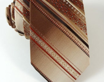 "Vintage Oleg Cassini Tie Brown Stripe Skinny 3"" Narrow Hughes  and  Hatcher Necktie"