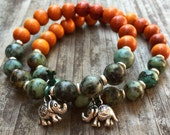 Stackable Mala Inspired Redwood + African Turquoise Yoga and Meditation Bracelet with Silver Spacers + Om Elephant Charm (1 bracelet)