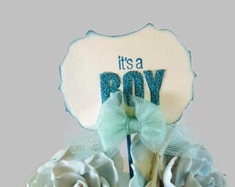 Baby Shower Cupcake Picks - Boy Baby Shower Decorations - It's A Boy - Centerpiece Bouquet Picks - Its A Boy Cupcake Pick - Set 10