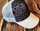 Black woven aztec, aztec, aztec hat, aztec snapback, aztec trucker hat, cute womens hat, mens hat, gender neutral hat