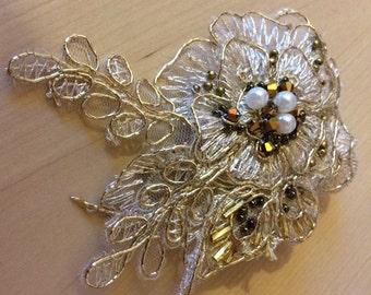 Gold, Vintage Inspired Bridal Comb