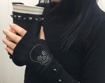 FREE US Shipping! Fingerless Gloves Arm Warmers Hand Warmers Knit Mittens Women's Wool Gloves Black White Skull Winter Gloves Rhinestone