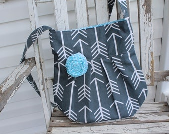 Charcoal Gray Pleated Crossbody Bag, Charcoal and Turquoise Arrow Crossbody Tote, Crossbody Arrow Print Bag, Gray and Turquoise Purse