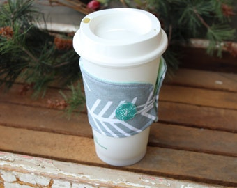 Reusable Coffee Cup Sleeve, Coffee Cup Cozy, Gray and Mint Green Arrow Coffee Cozy, Ready to Ship