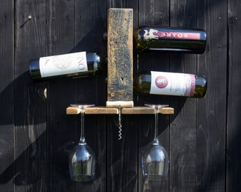 3 and 6 bottle Hanging Wall Wine Rack - handmade from reclaimed wood