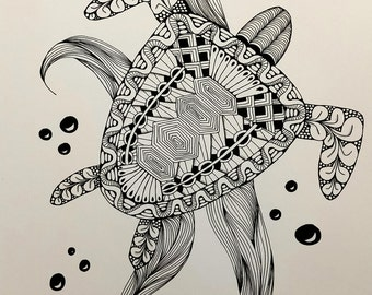 Turtle Zentangle Art Print